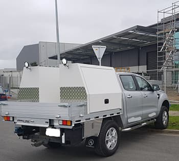 Commercial ute fitout with side toolboxes