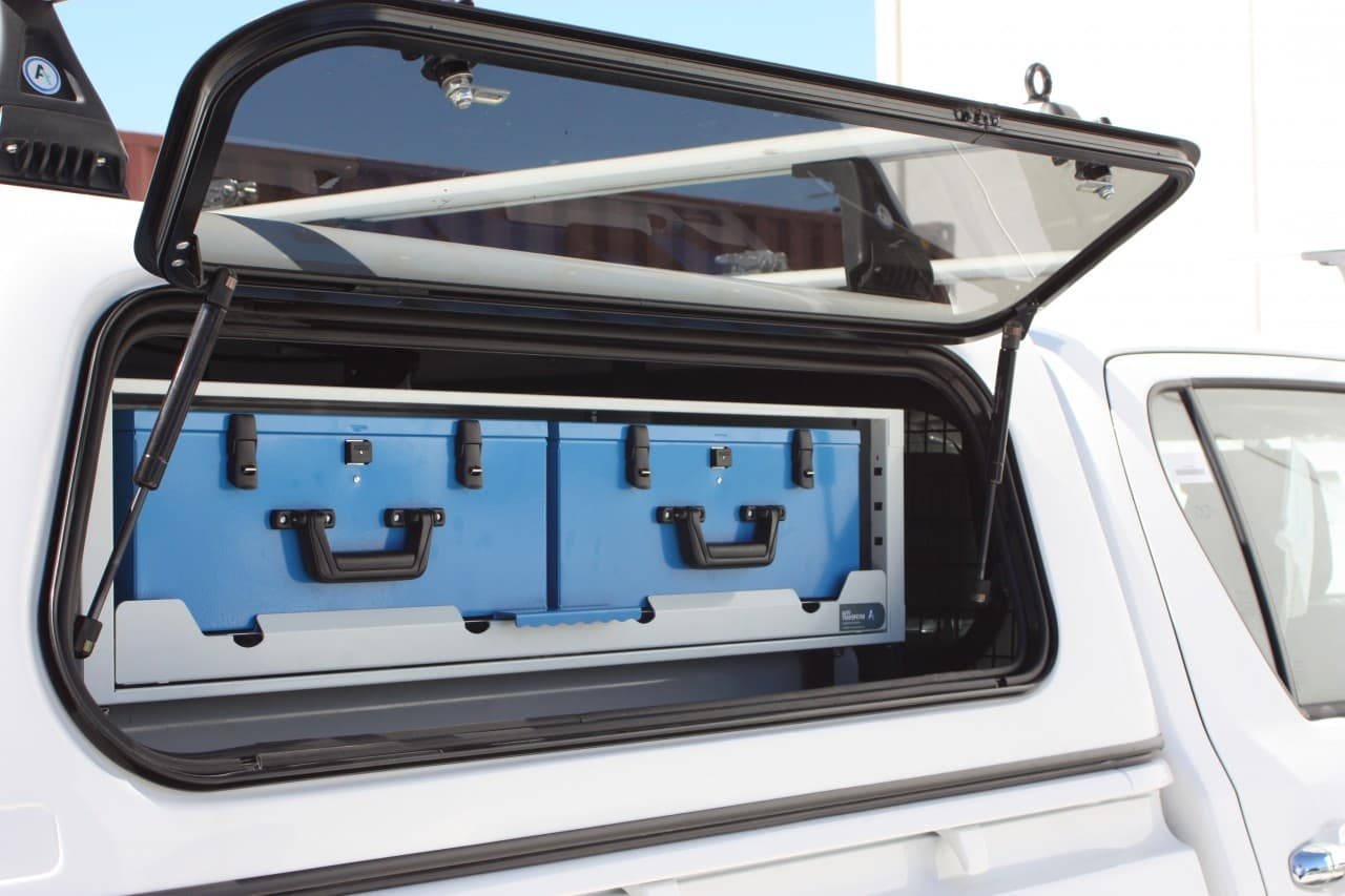 Commercial ute fitout with secure tool boxes