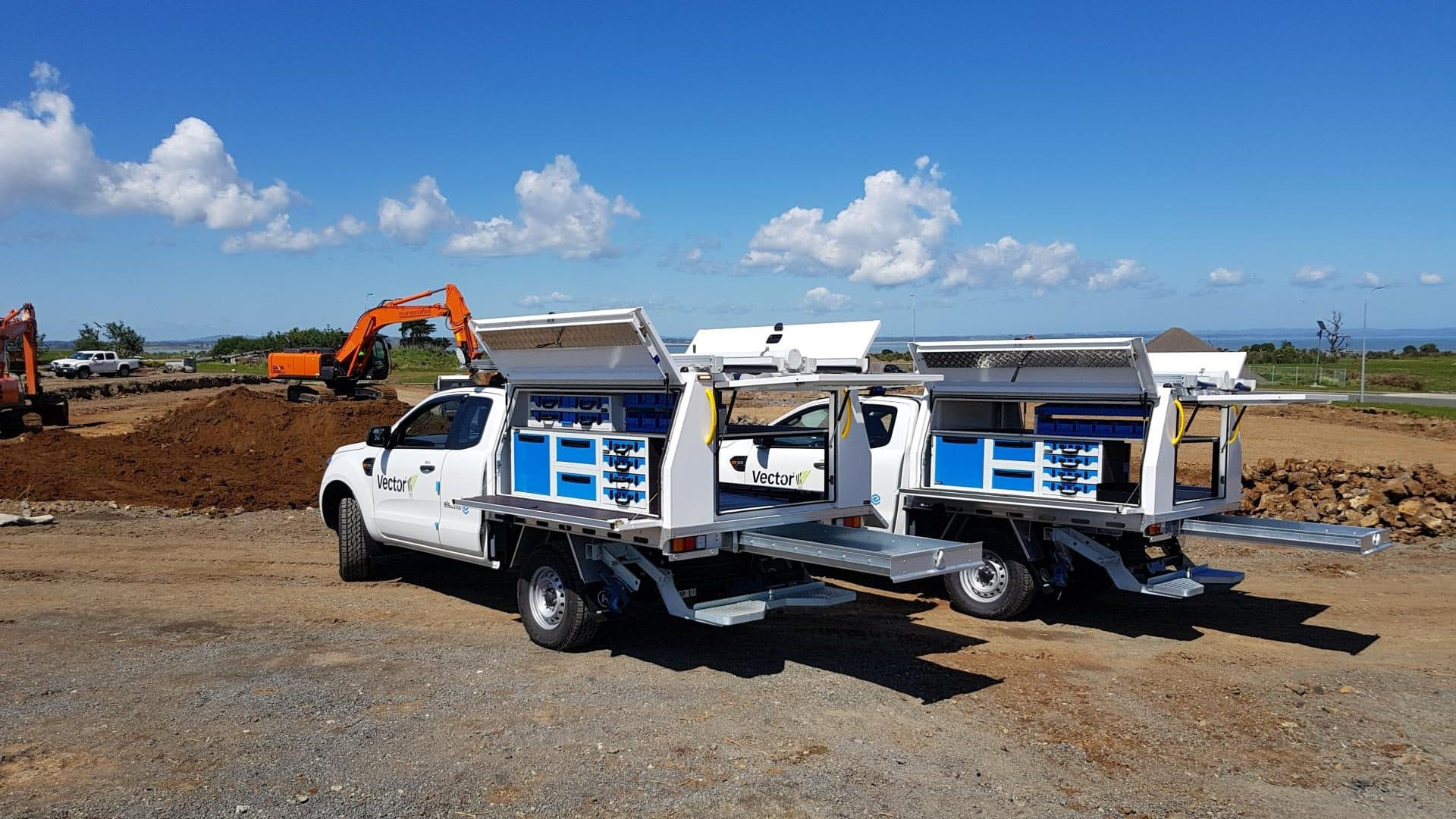 Commercial ute fleet with service body fitouts