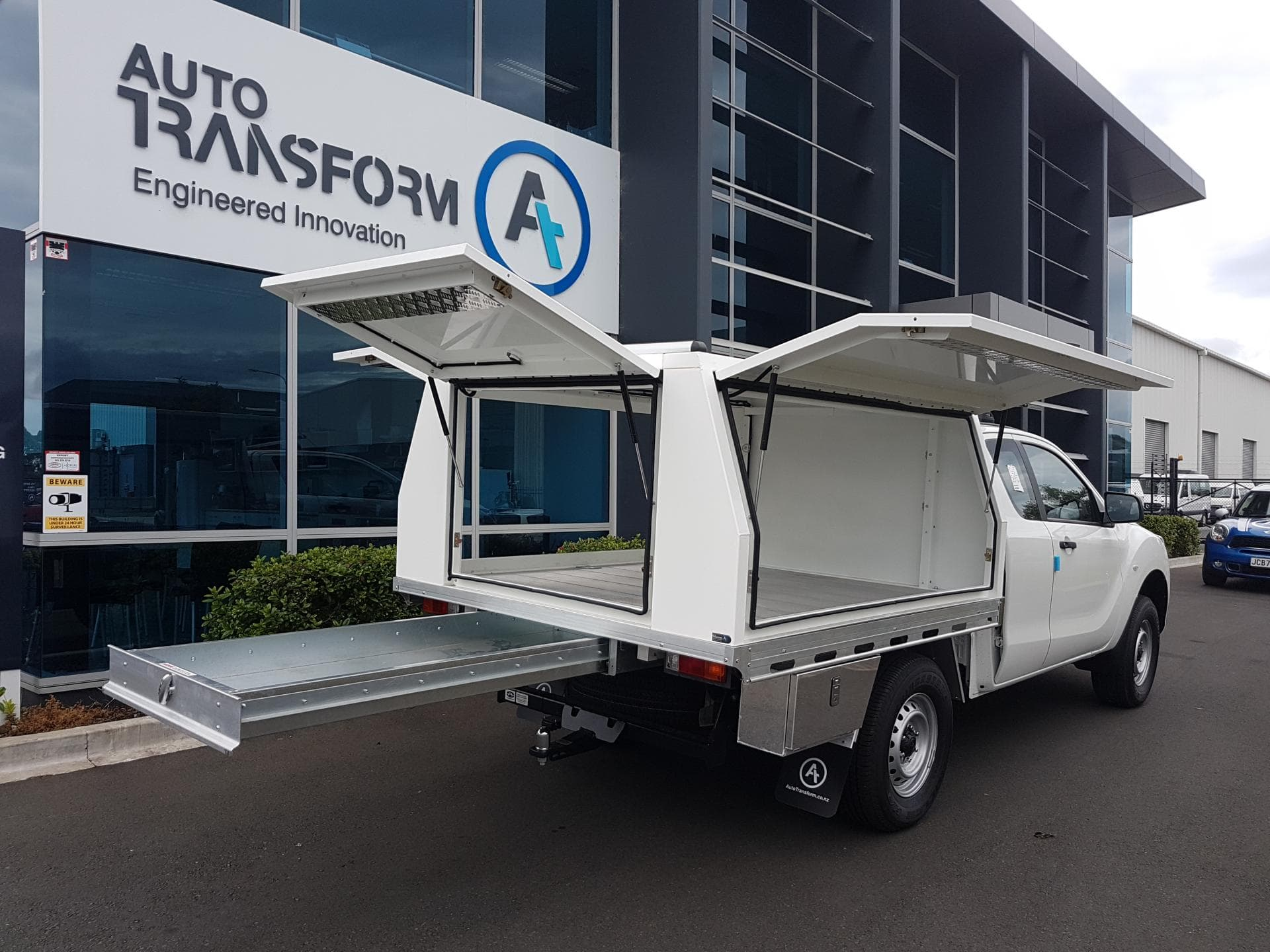 Commercial ute service body with open doors