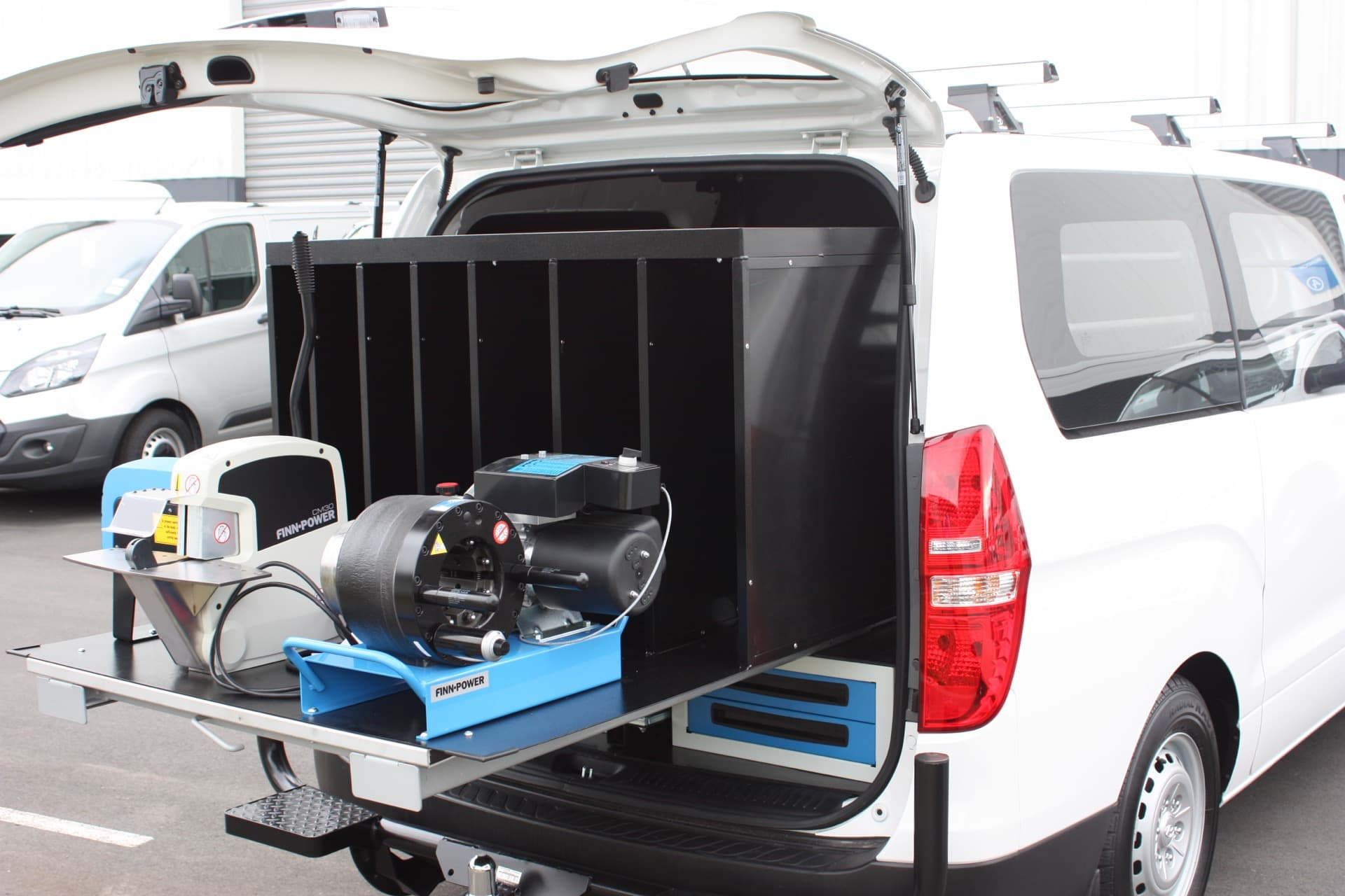 Custom design van with power tool dock