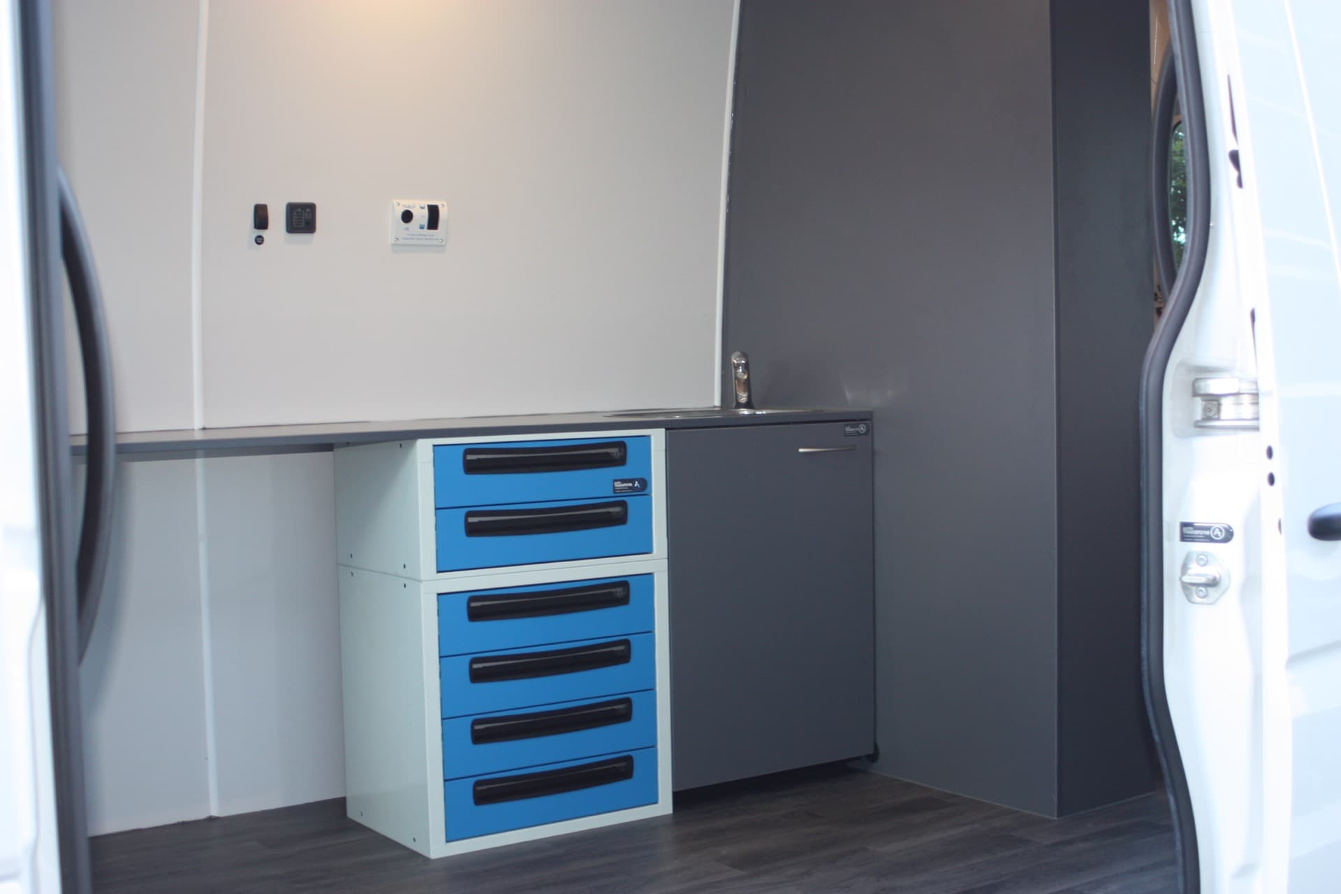 Custom van fitout with kitchenette sink
