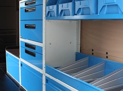 Commercial vehicle fitout for ute with drawers and shelving