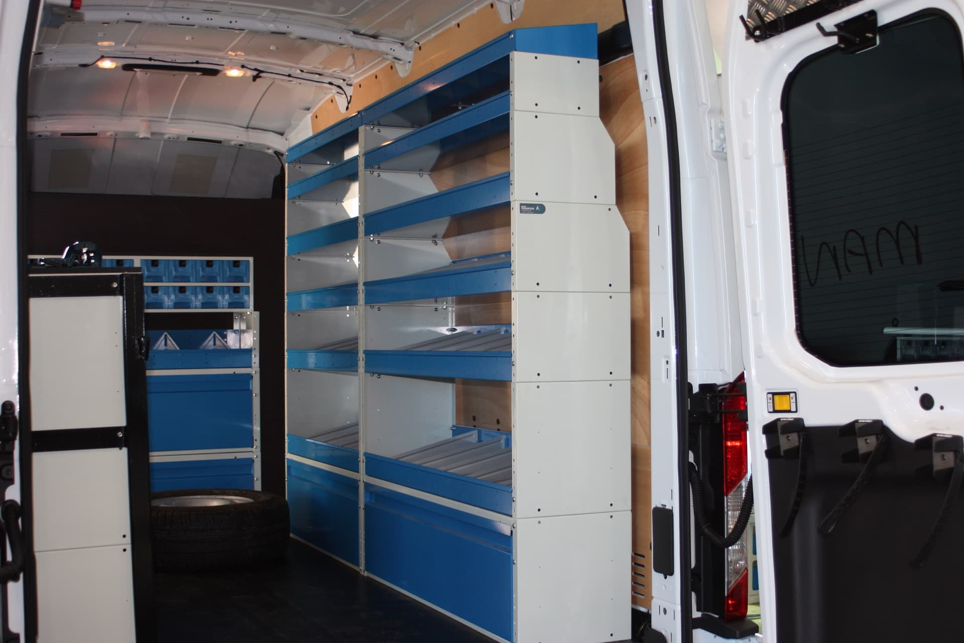 Industrial shelving system for parts in work van
