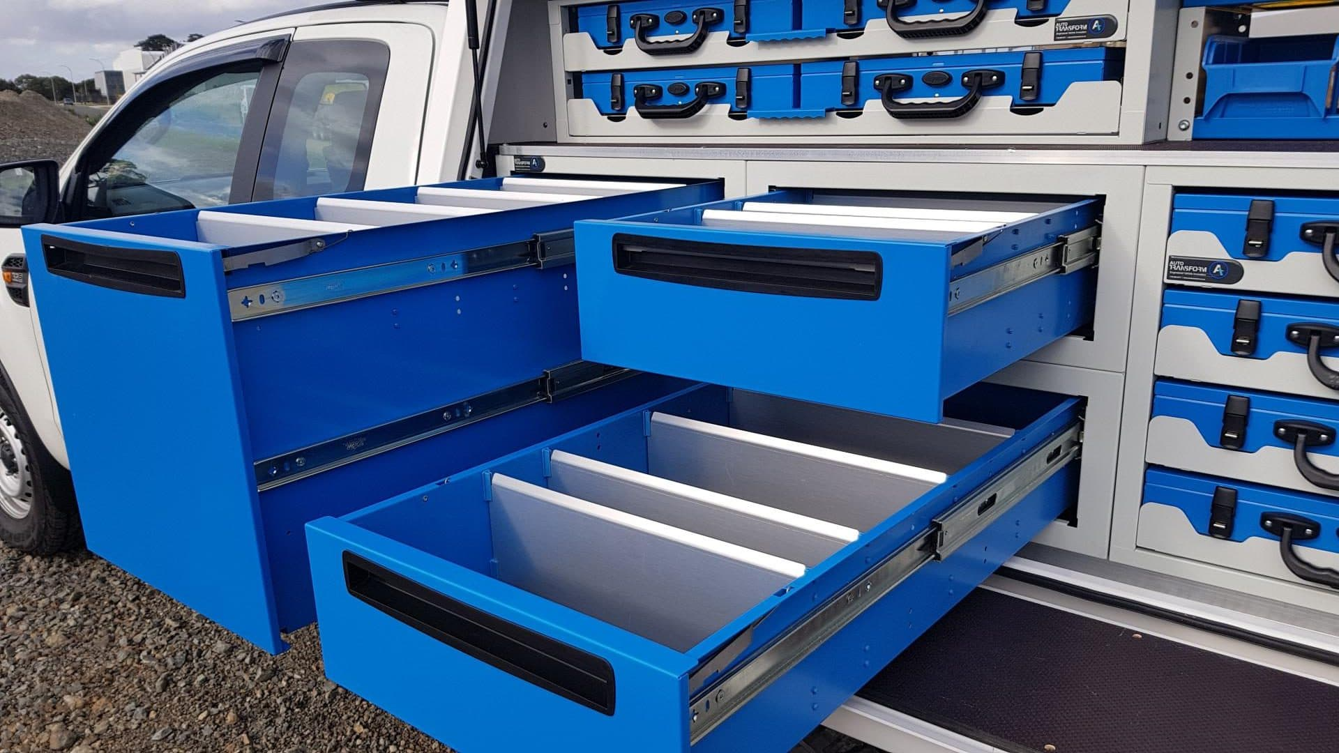 Modular tool drawer system for ute service body