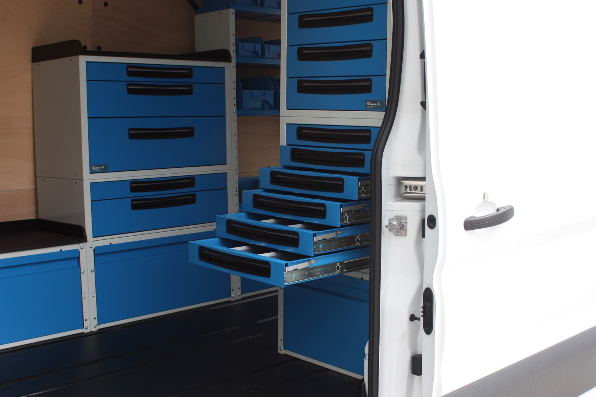 Tool and part drawers in custom vehicle fitout