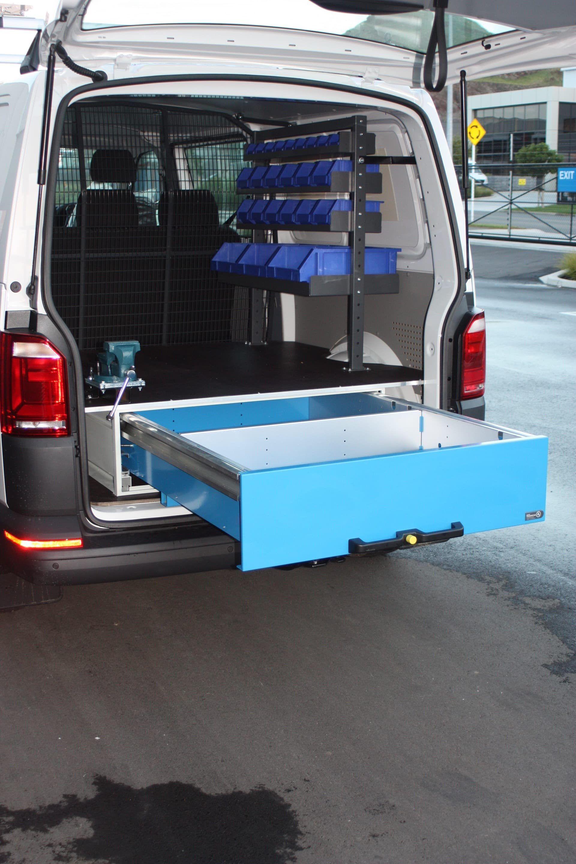 Van with tool drawers and underfloor storage tray
