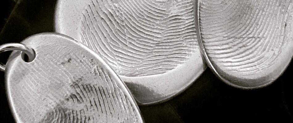Assorted Fingerprint Pendants Black and White