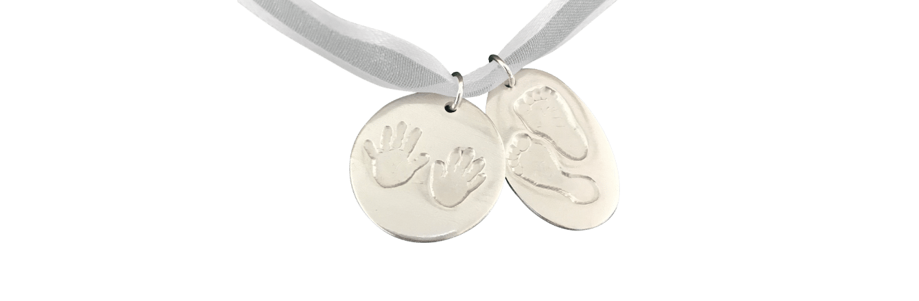 Hand Footprints Heart Necklace on Silver Belcher Chain Banner