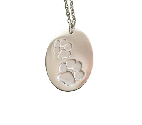 Pet Paw Print on Chunky Silver Chain