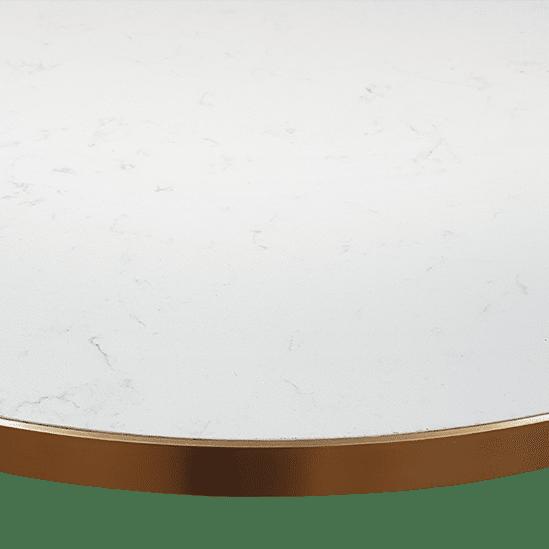 TT Ostler Table Top Eurostone Brass Edge Cafe Table Pedestal Table hospo