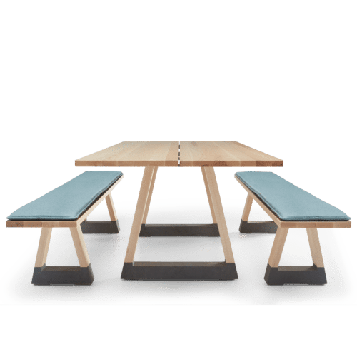 TB Slab Table and Bench Seats Clear with Upholstered Squab End