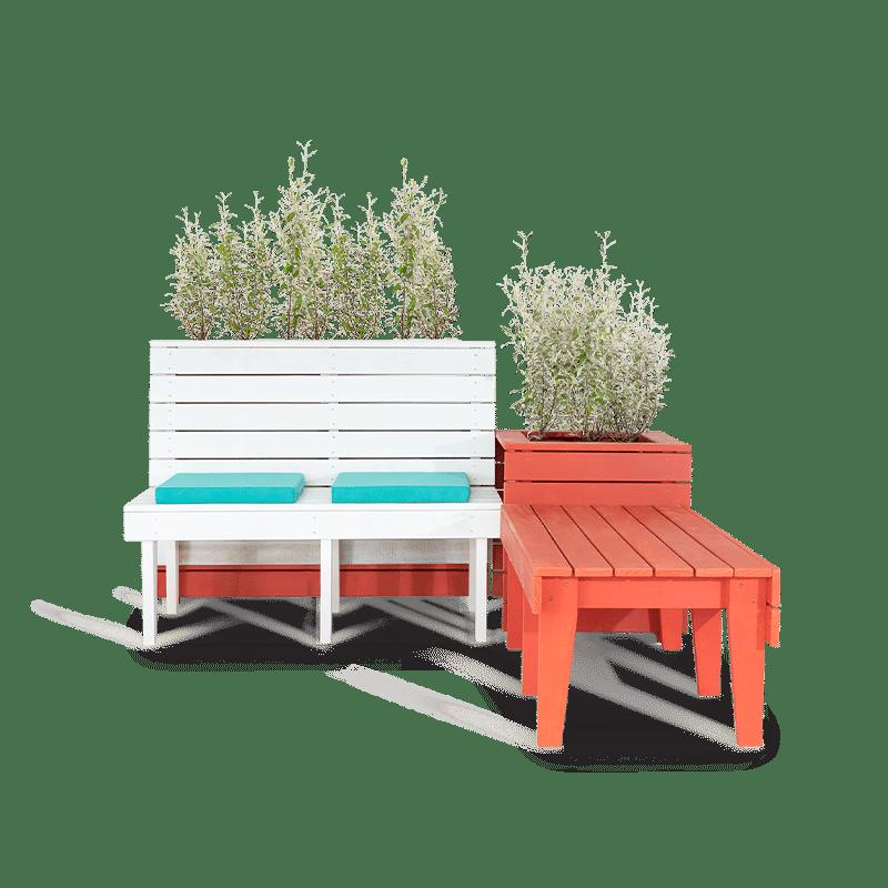 BA Season Banquette planter bench seat setting front  web