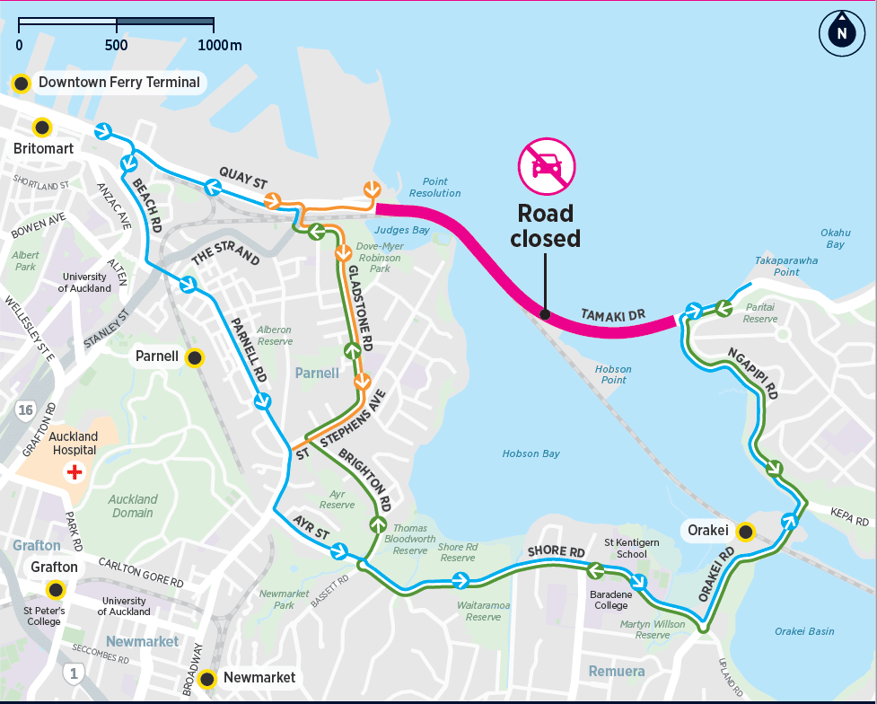 tamaki drive closure detour map