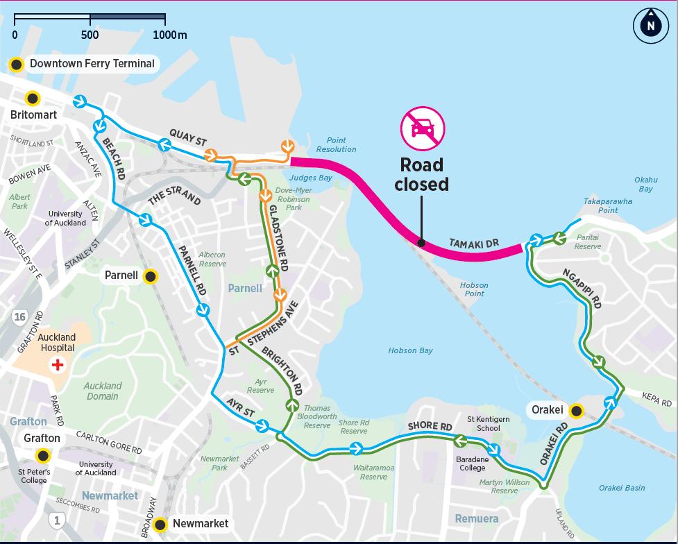 tamaki drive closure detour map