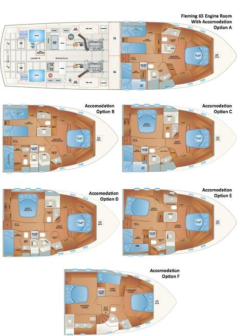 Fleming 65 Accomodation Layouts