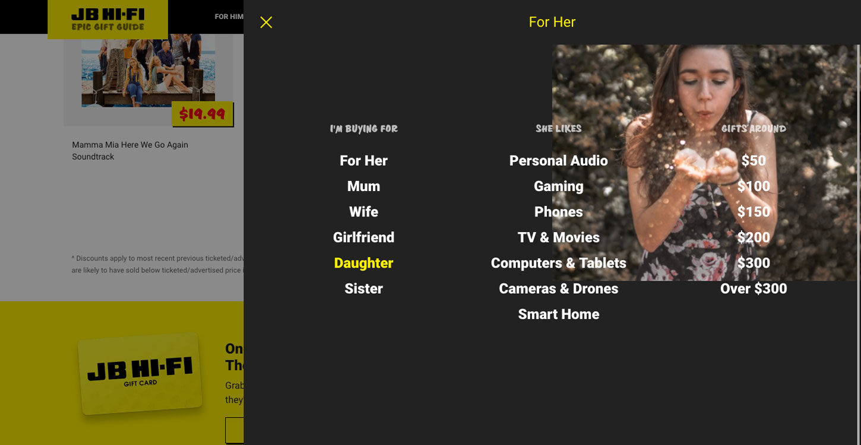 ss jbgiftguide website design for her dt