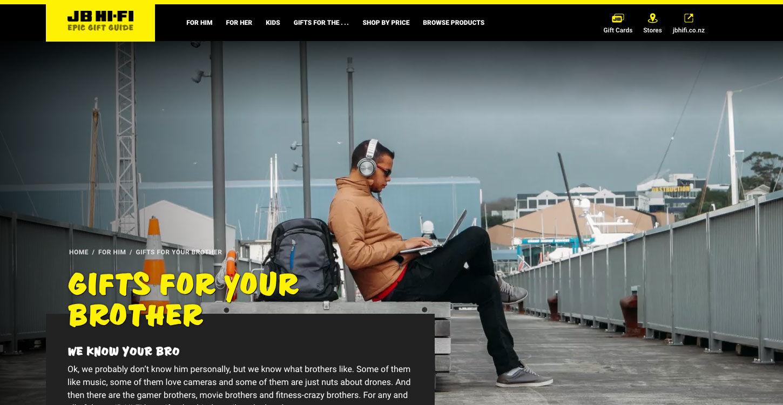 ss jbgiftguide website design home brother dt