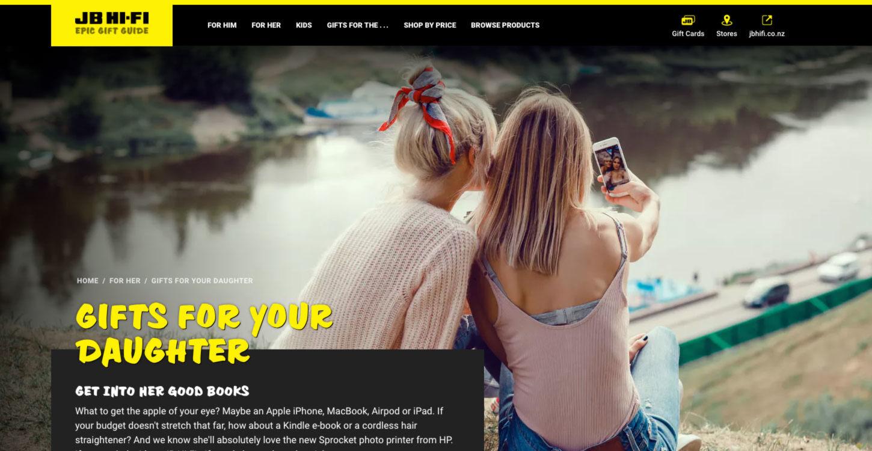 ss jbgiftguide website design home daughter dt