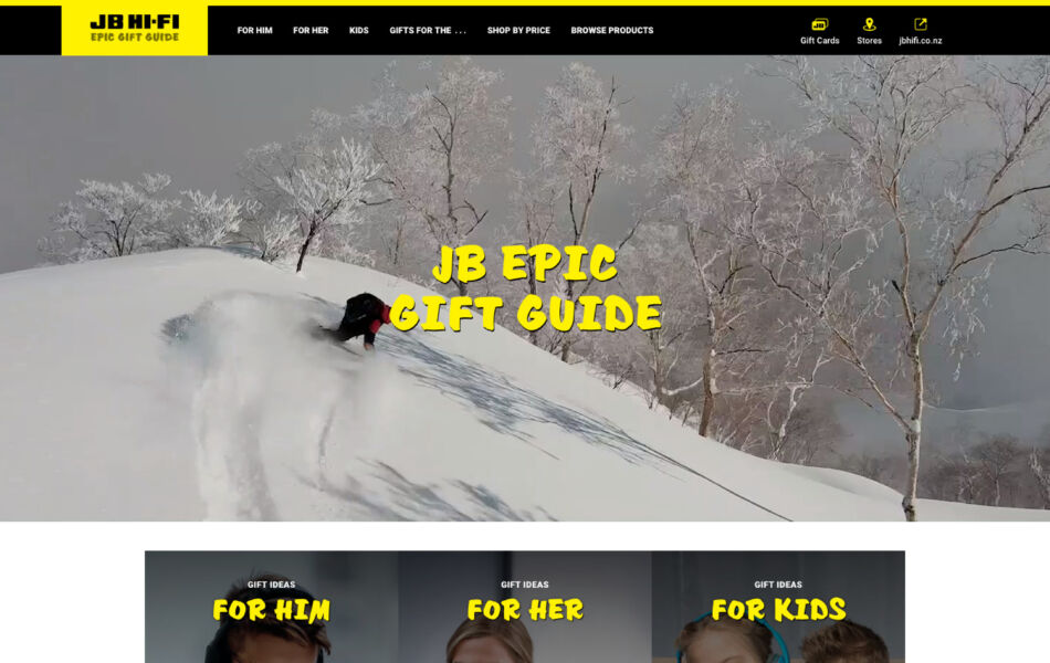 Gift guide website design background video content