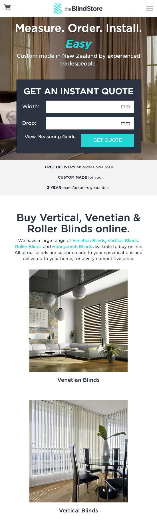 ss theblindstore ecommerce website design home mb