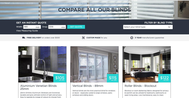 ss theblindstore ecommerce website design instant quote dt