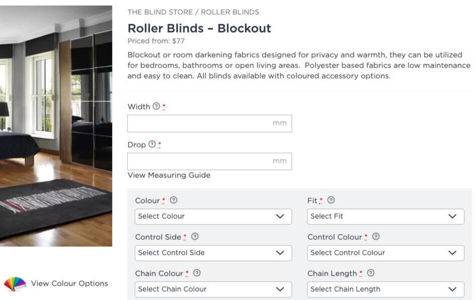 ss theblindstore ecommerce website design product dt