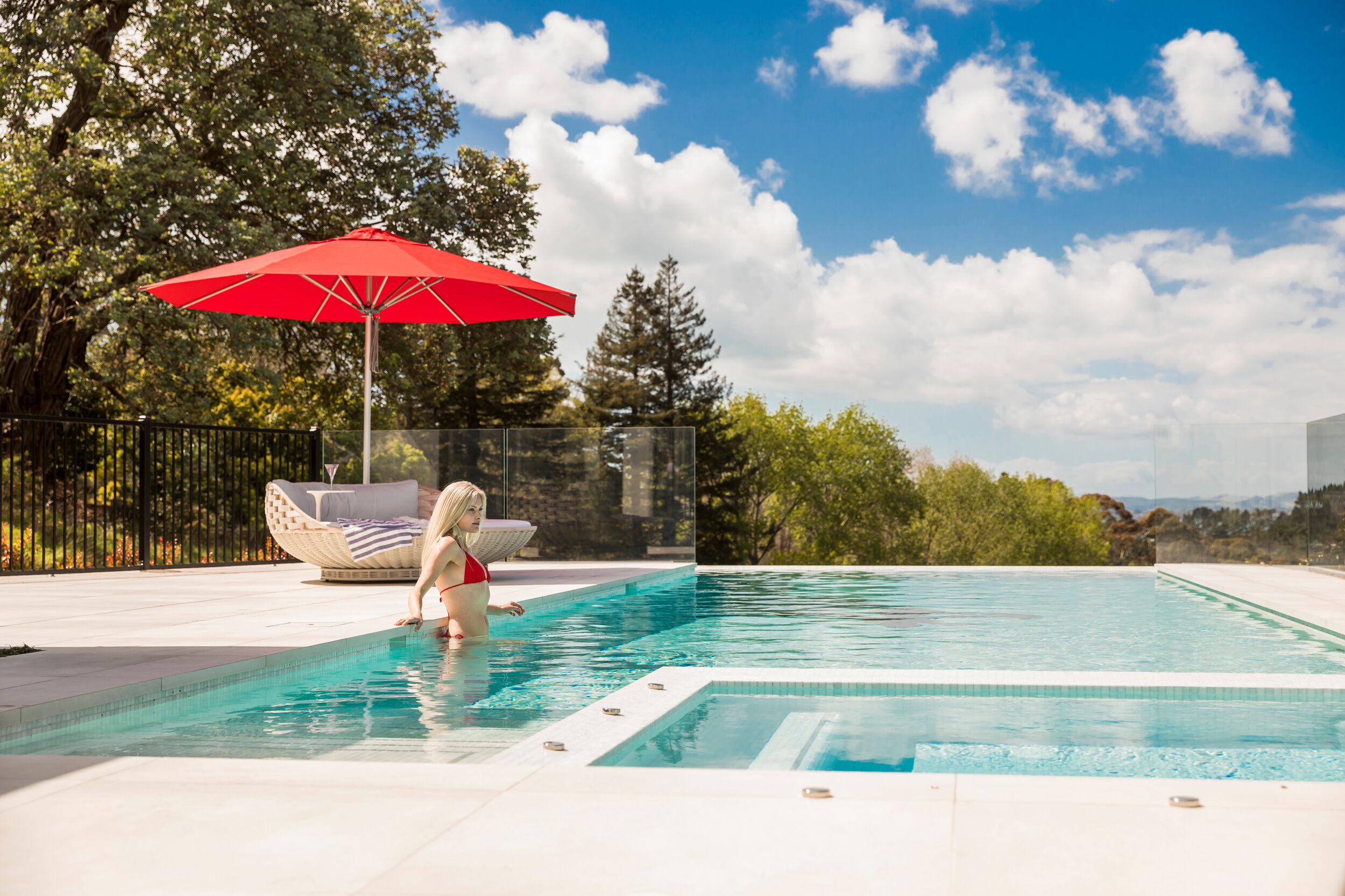 Milan Red Outdoor Pool Umbrella