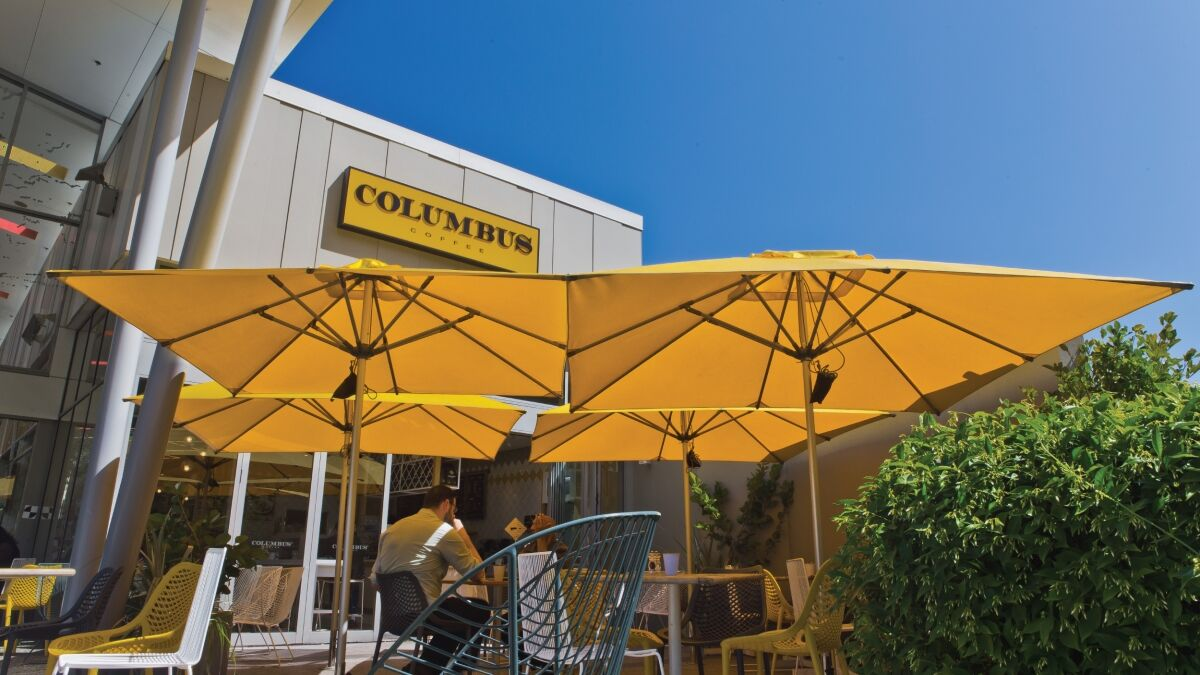 Columbus Coffee Yellow Milan Commercial Umbrellas