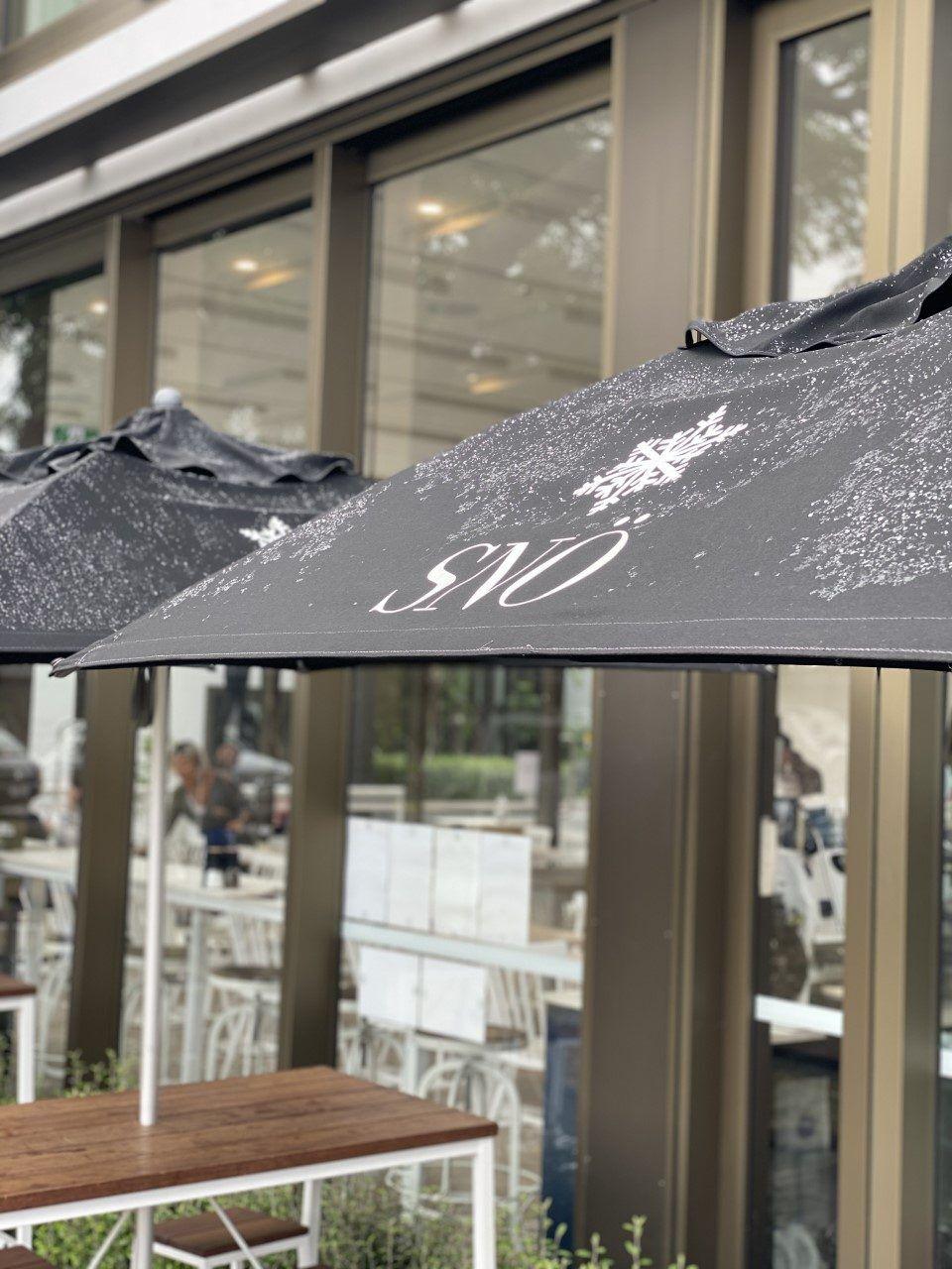 Venice sun umbrella at Sno cafe