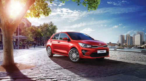 kia rio red by water
